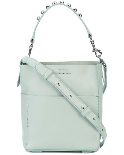 AllSaints - Green Silver Studded Tote Bag - Lyst