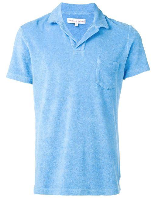 メンズ Orlebar Brown フロントポケット ポロシャツ Blue