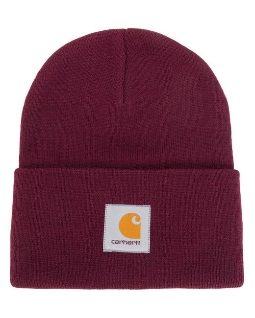 Carhartt WIP Red Logo Knitted Hat