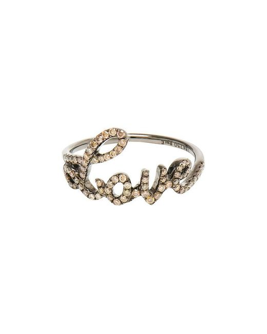 Rosa De La Cruz - Brown Love 18k Oxidised Gold And Diamond Ring - Lyst