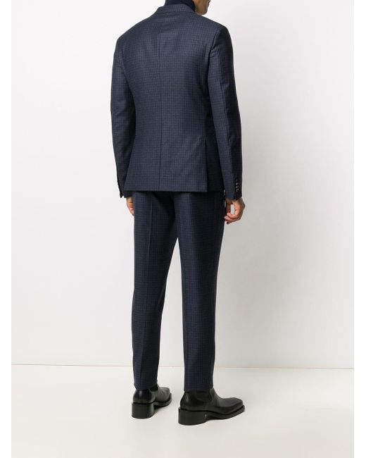 メンズ Z Zegna チェック シングルスーツ Blue