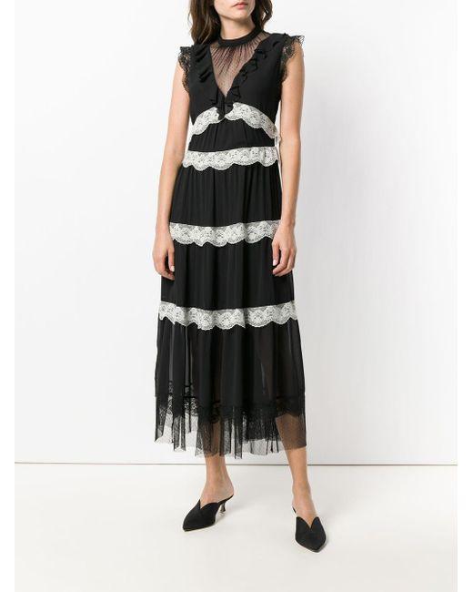 Three Floor Black Flared Ruffled Dress