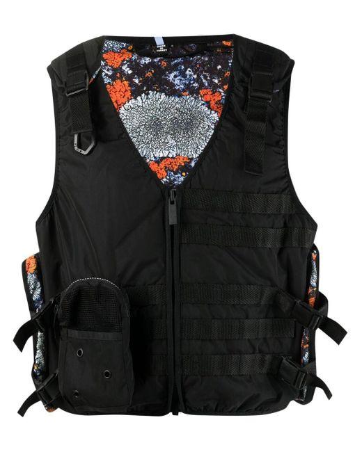 McQ Alexander McQueen Black Cropped Cargo Waistcoat for men