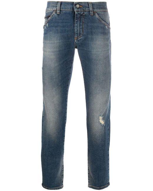 メンズ Dolce & Gabbana ロゴパッチ スキニージーンズ Blue