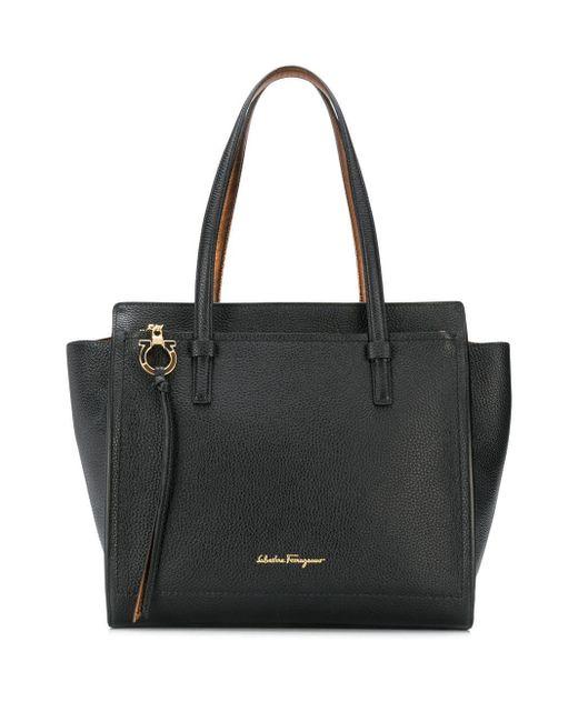 Ferragamo Black Amy Leather Shopping Bag
