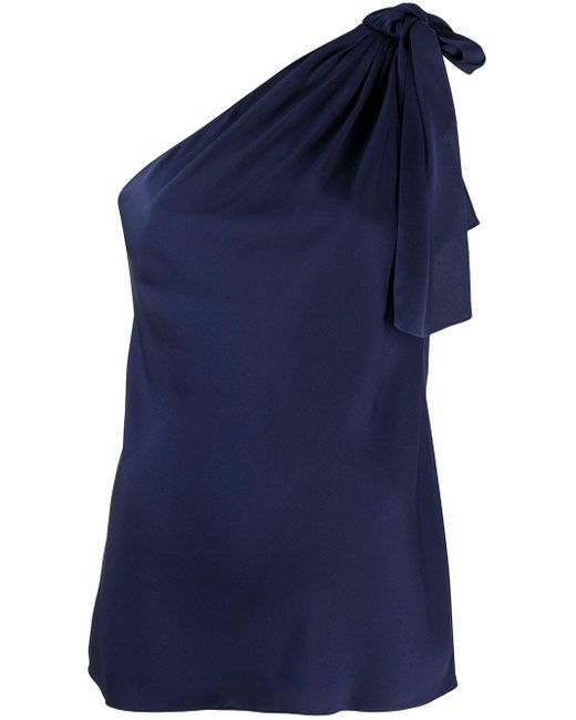 Theory Blue One-shoulder Top