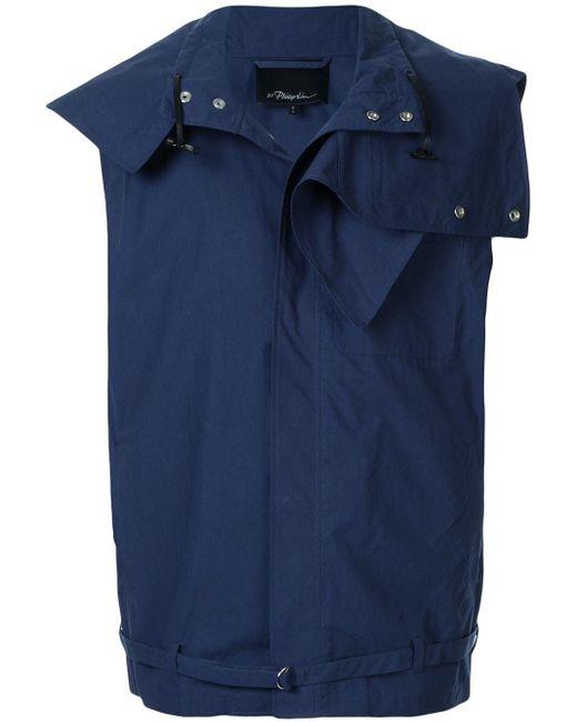 メンズ 3.1 Phillip Lim Funnel Neck Vest W Detachable Collar Blue