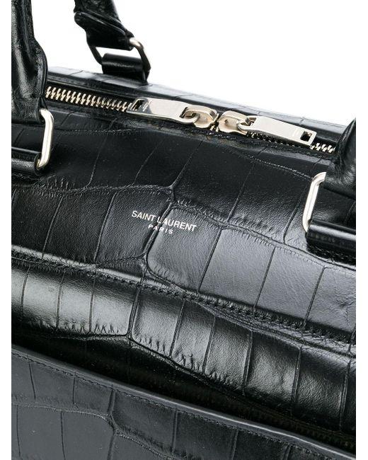 Сумка 24 Hour С Тиснением Под Кожу Крокодила Saint Laurent для него, цвет: Black