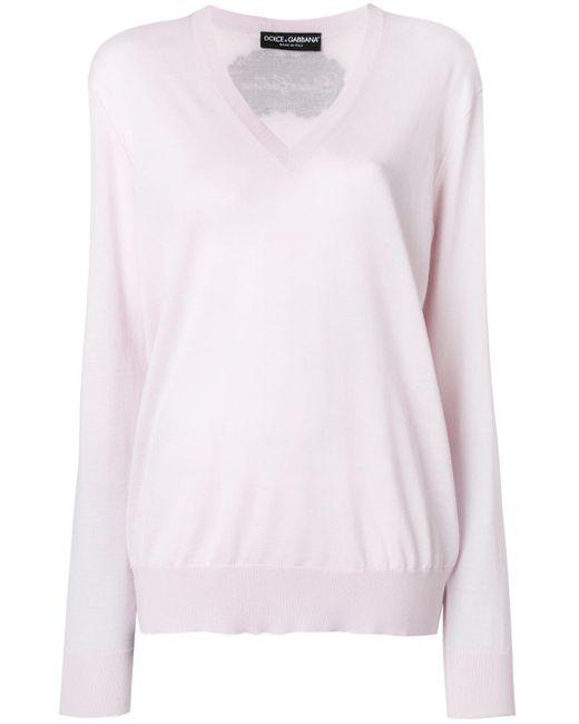 Dolce & Gabbana アップリケ Vネックセーター Multicolor