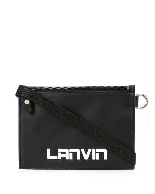 メンズ Lanvin エンボスロゴ メッセンジャーバッグ Black