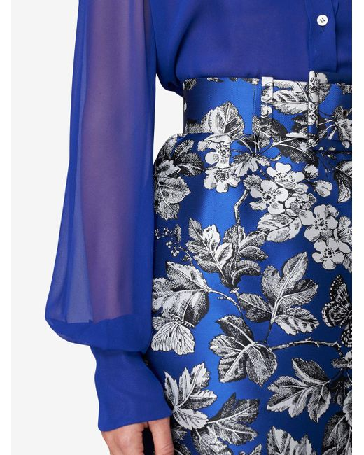 Carolina Herrera フローラル ペンシルスカート Blue