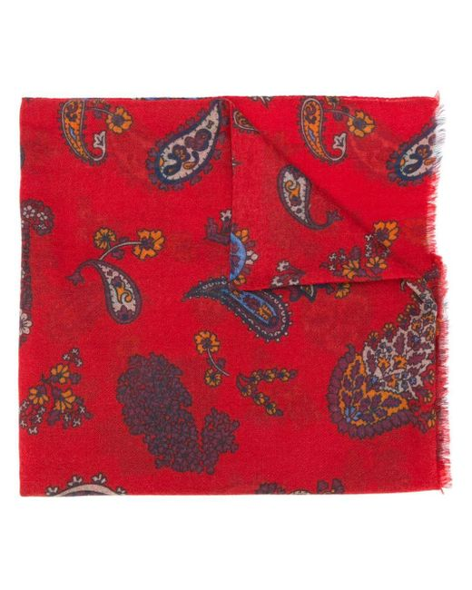 Kiton Red Paisley Print Cashmere Scarf for men