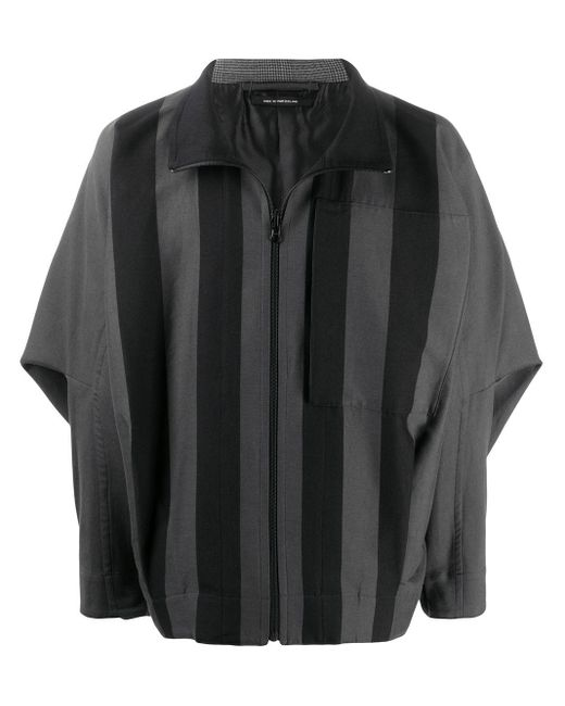 メンズ Issey Miyake ストライプパネル ボンバージャケット Gray