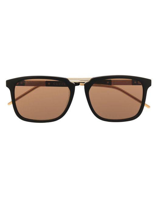 Lunettes de vue à monture carrée Gucci pour homme en coloris Black