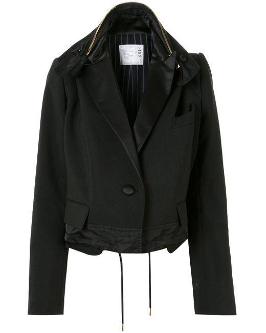 Sacai オーバーサイズ クロップドジャケット Black