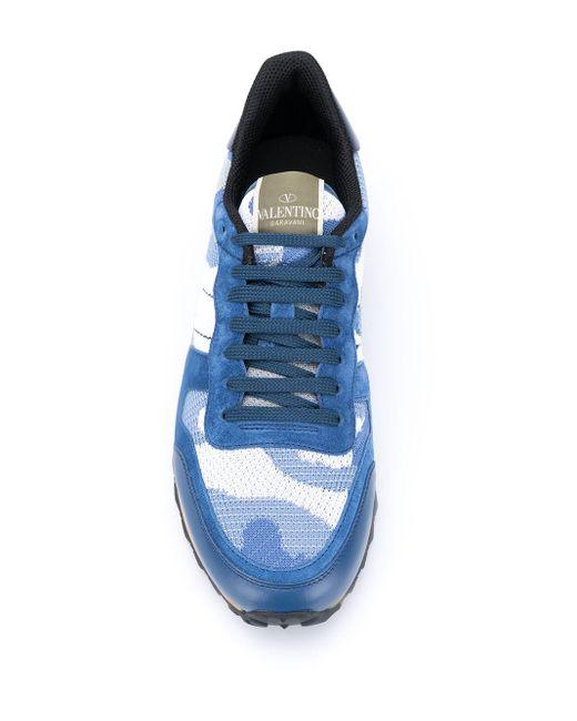 Baskets Rockrunner à motif camouflage Valentino Garavani pour homme en coloris Blue