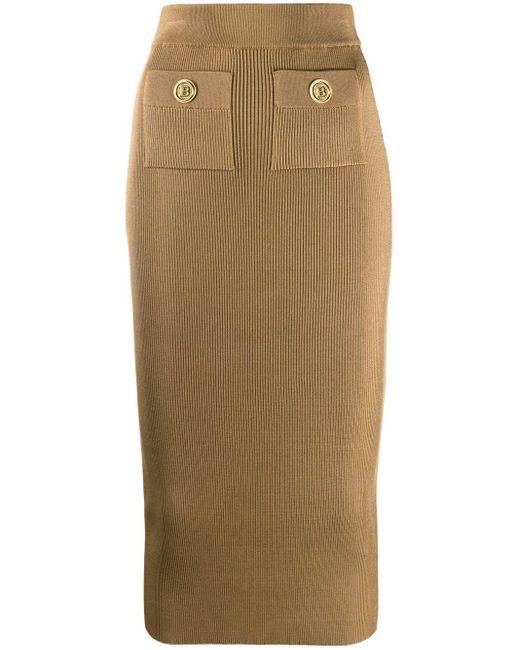 Трикотажная Юбка С Завышенной Талией Balmain, цвет: Brown