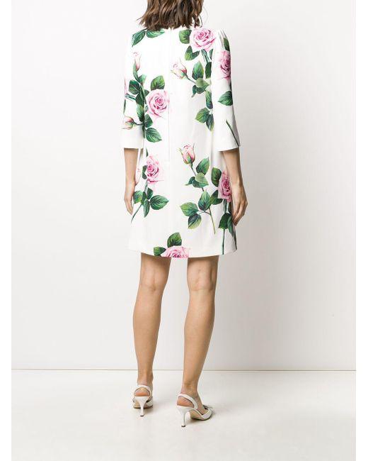Платье-трапеция С Принтом Dolce & Gabbana, цвет: White