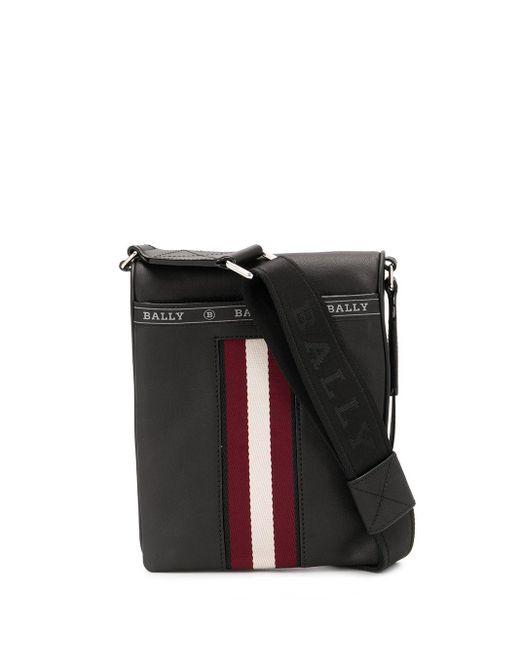 Bally Black Contrast Stripe Messenger Bag for men