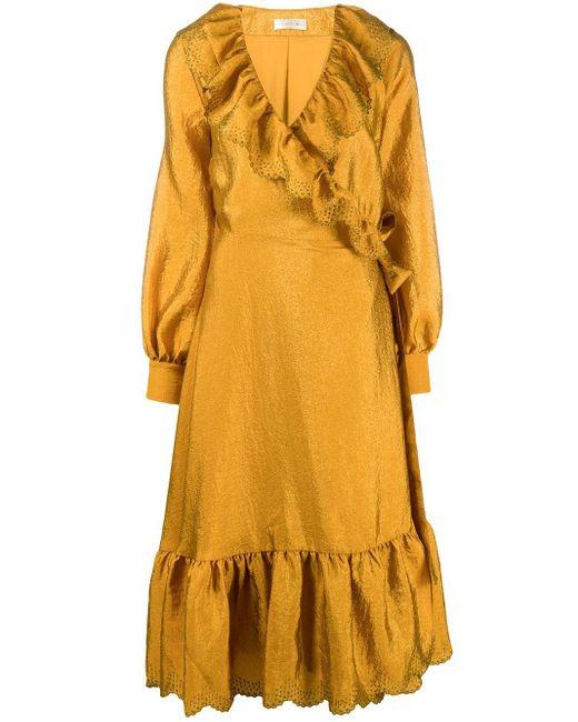 Robe volantée Steffi à effet portefeuille Stine Goya en coloris Metallic
