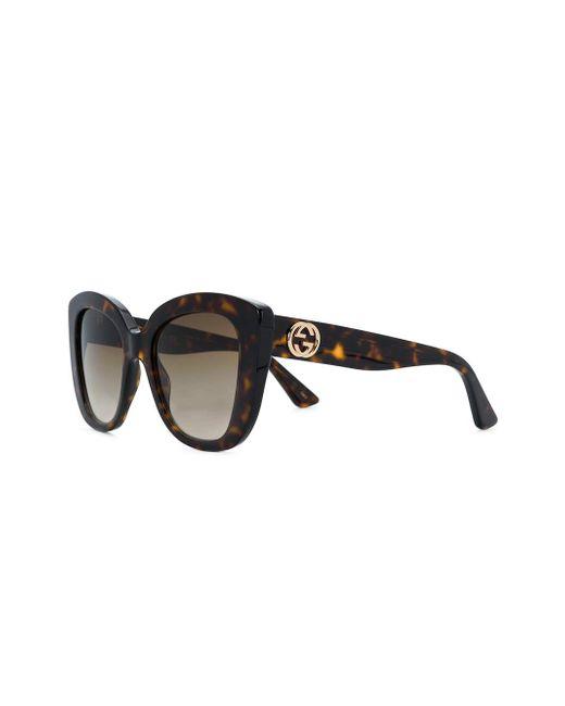 97c865e9fb ... Gucci - Brown Tortoiseshell-effect Sunglasses - Lyst ...