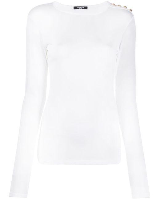 Balmain ボタンディテール Tシャツ White