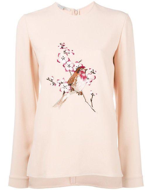Stella McCartney - Pink Bird Embroidered Sweatshirt - Lyst