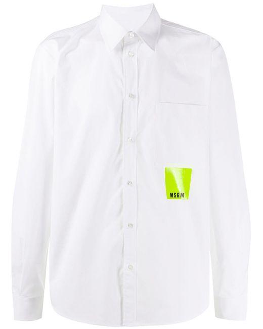 メンズ MSGM パッチポケット シャツ White