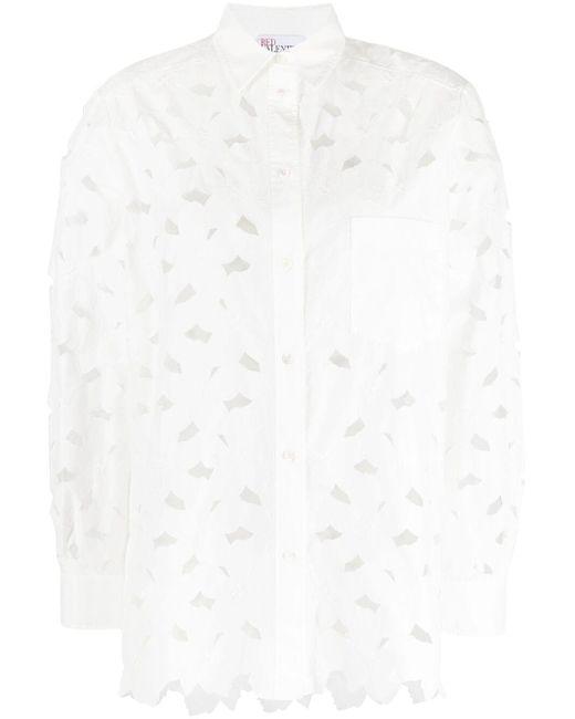 Camisa con bordado floral RED Valentino de color White