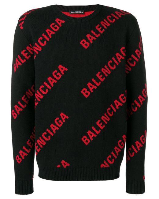 メンズ Balenciaga オールオーバー ロゴ セーター Multicolor
