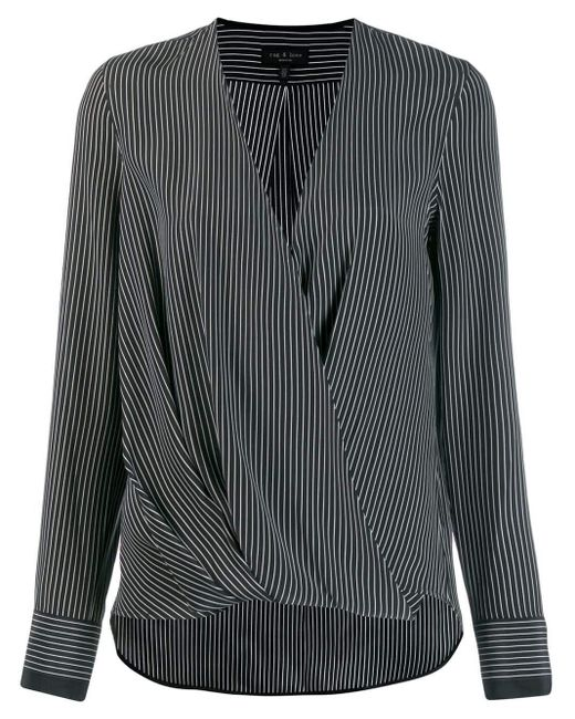 Rag & Bone Black Wrap Front Striped Blouse