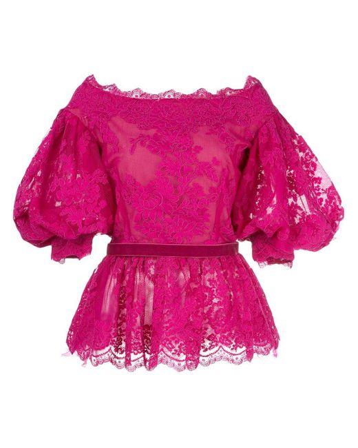 Marchesa パフスリーブ ブラウス Pink