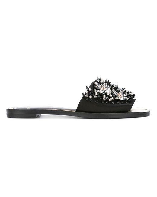 Lanvin クリスタル装飾 サンダル Black