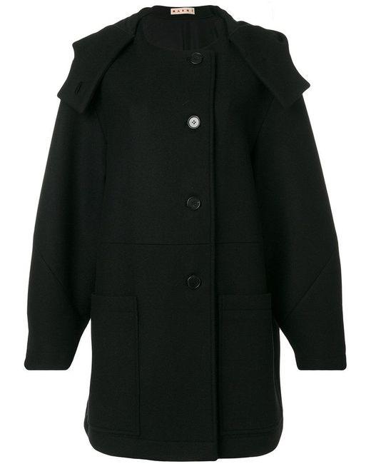 Marni - Black Hooded Coat - Lyst