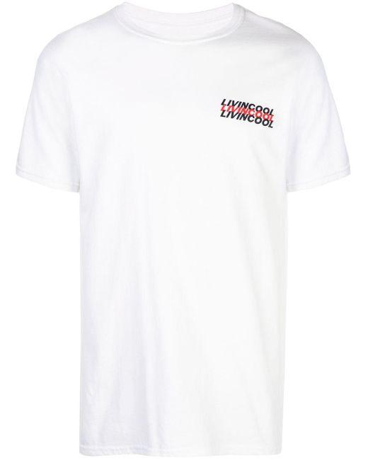 メンズ LIVINCOOL プリント Tシャツ White