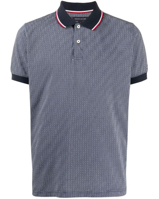 Tommy Hilfiger Blue Logo Embroidered Polo Shirt for men