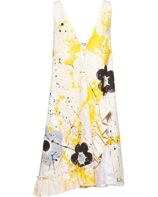 Miu Miu ノースリーブ Vネックドレス White