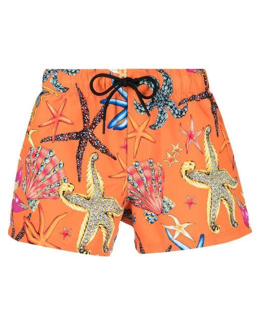 Плавки-шорты С Принтом Versace для него, цвет: Orange