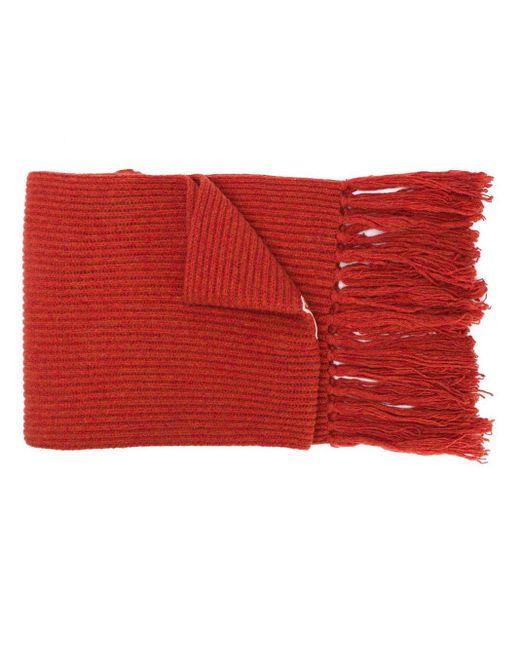 AMI Ribbed Scarf Ami De Coeur Patch Red