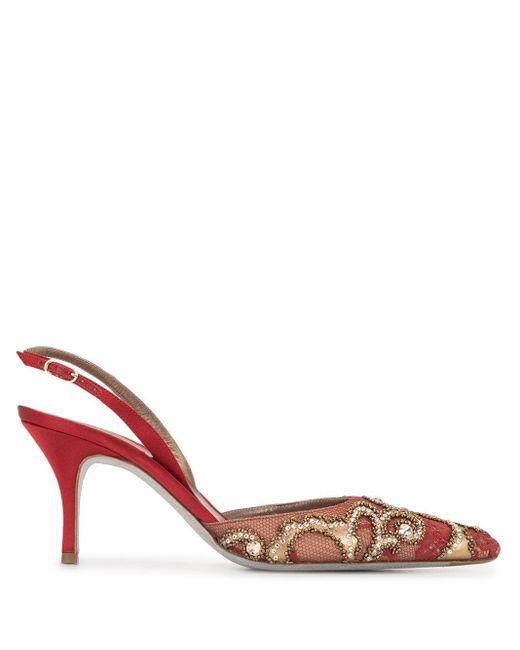Escarpins ornés à bride arrière Rene Caovilla en coloris Red