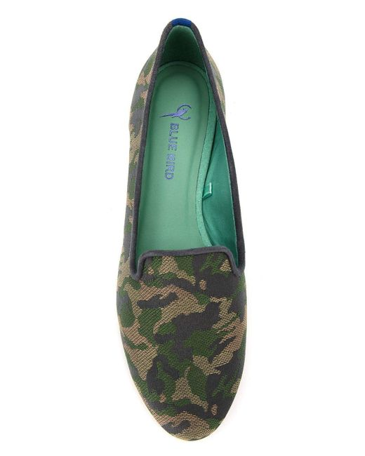 Blue Bird Shoes Leather And Cotton Jacquard Loafers Green