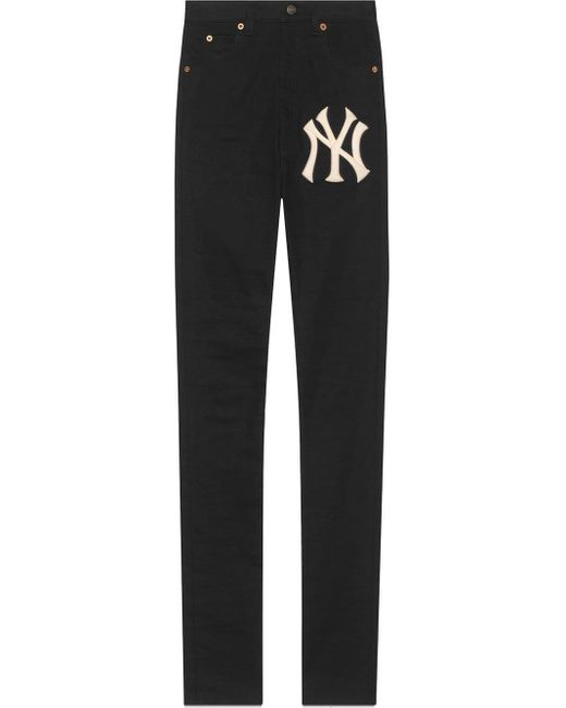 Gucci Black Denim Skinny Pants With Ny Yankeestm Patch