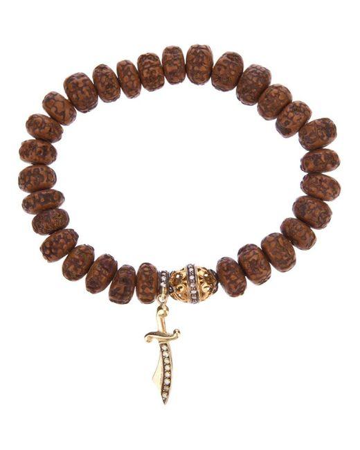 Loree Rodkin Brown Carved Wood Beaded Diamond Bracelet