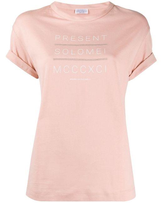 Brunello Cucinelli スローガン Tシャツ Pink