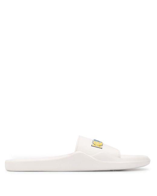 メンズ KENZO ロゴ フラットサンダル White