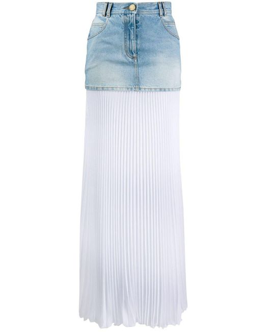 Balmain プリーツ デニムスカート Blue