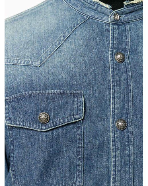 Джинсовая Рубашка Без Воротника Balmain для него, цвет: Blue