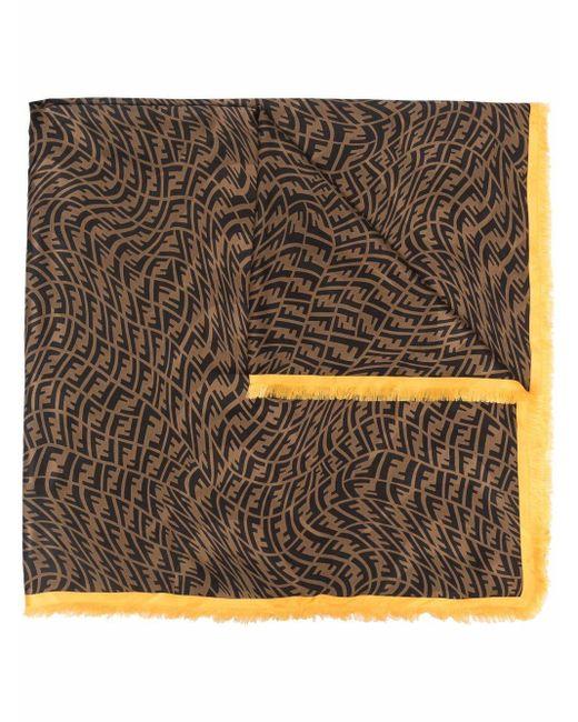 Шарф С Монограммой И Бахромой Fendi, цвет: Brown