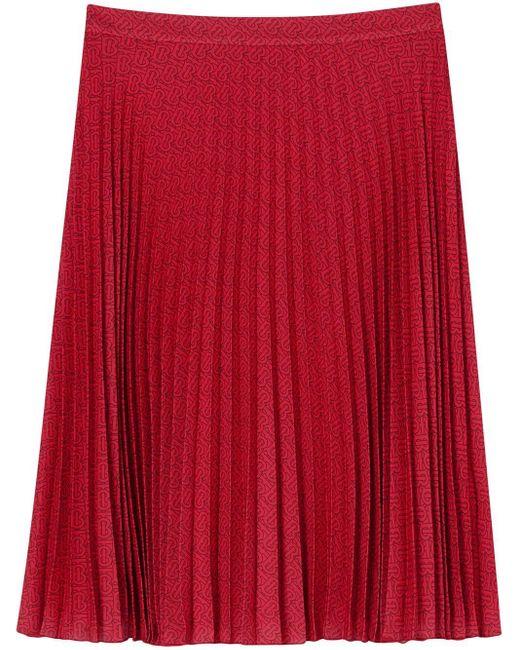 Burberry モノグラム プリーツスカート Red