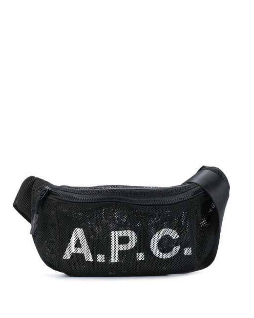 メンズ A.P.C. メッシュ ロゴ ベルトバッグ Black